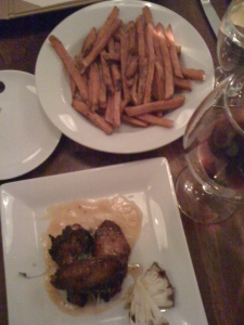 honey chicken, sweet pot fries