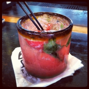 Sueno Rojo: twist on the classic Mojito with strawberry & watermelon puree